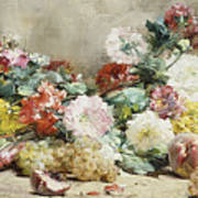 Carnations, Roses, Grapes And Peaches Art Print