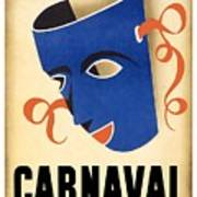 Carnaval En La Habana 1941 - Carnival Mask - Retro Travel Poster - Vintage Poster Art Print