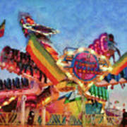 Carnival - A Most Colorful Ride Print by Mike Savad