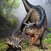 Carnotaurus Attacking An Antarctopelta Art Print