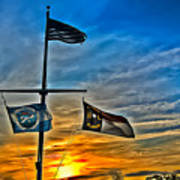 Carolina Beach Lake Flag Pole V2 Art Print
