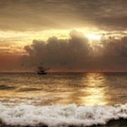 Carolina Beach Shrimp Boat At Sunrise Art Print