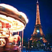 Carousel And Eiffel Tower Art Print by Elena Elisseeva