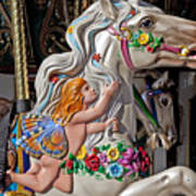 Carousel Horse And Angel Art Print by Garry Gay