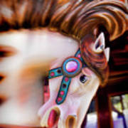 Carousel Horse Portrait Print by Garry Gay