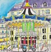 Carousel Paris Illustration Hand Drawn Art Print