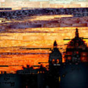 Cartagena Colombia Night Skyline Art Print