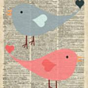 Cartoon Birds In Love  Art Print