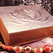 Carved Box In Aluminum. Silver Box And Red Necklace Art Print