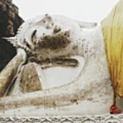 Carved Stone Buddha Statue Wat Temple Complex In Old Siam Kingdom, Ayutthaya, Thailand Art Print