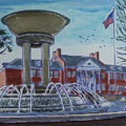 Cary Arts Center And Fountain Art Print