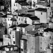 Casares Pueblo. Black And White Art Print