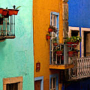 Casas In Mint Terracotta And Blue Art Print
