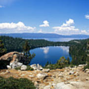 Cascade Lake And Lake Tahoe Art Print by Troy Montemayor