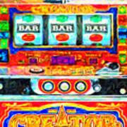 Casino Slot Machine . One Arm Bandit . Triple Bar Bonus Jack Pot Art Print by Wingsdomain Art and Photography