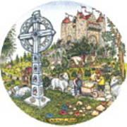 Castle Cross Circle Art Print