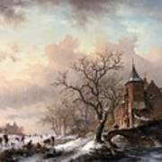 Castle In A Winter Landscape And Skaters On A Fozen River Art Print