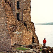Castle Ruins On The Seashore In Ireland Art Print