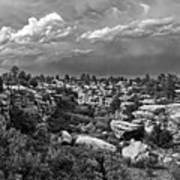 Castlewood Canyon And Storm - Black And White Art Print