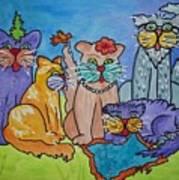 Cat Family Gathering Art Print