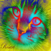 Cat Fluorescent Art Print