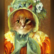 Cat In Bonnet Art Print