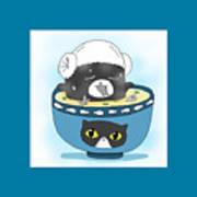 Cat In Food Art Print