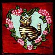 Cat In Heart Wreath 2 Art Print