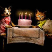 Cat - It's Our Birthday - 1914 Art Print
