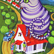 Cat On A Red Tin Roof Art Print