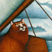Cat On Sailboat Art Print