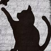 Cat  Shadow  And Butterfly  Art Print