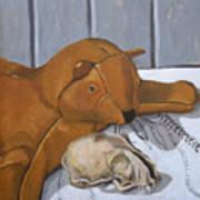 Cat Skull And Toy Cat Art Print