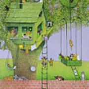 Cat Tree House Art Print