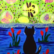 Cat Tv  Watching Bugs Art Print