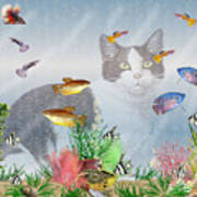 Cat Watching Fishtank Art Print
