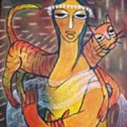 Cat With Woman Art Print