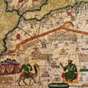 Catalan Map Of Europe And North Africa Charles V Of France In 1381  Art Print by Abraham Cresques