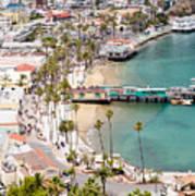 Catalina Island Avalon Waterfront Aerial Photo Art Print