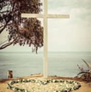 Catalina Island Cross Picture Retro Tone Art Print