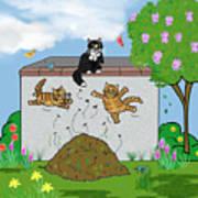 Tabby Cats Falling Art Print