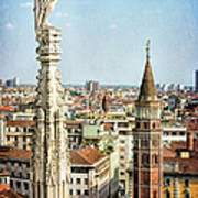 Cathedral And Campanile Milan Italy Art Print
