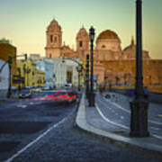 Cathedral From Campo Del Sur Cadiz Spain Art Print
