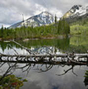 Cathedral Group Reflection On String Lake Art Print