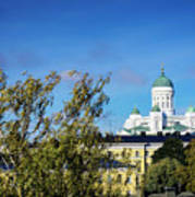 Cathedral Landmark And Central Helsinki View In Finland Art Print