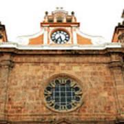 Cathedral Of Cartagena Clock Art Print