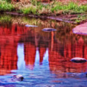Cathedral Rock Reflection Painterly Art Print
