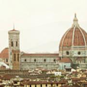 Cathedral Santa Maria Del Fiore At Sunset, Florence. Art Print