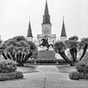 Catholic Basilica Jackson Sq Andrew Jackson New Orleans  Art Print