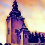 Catholic Church Building, Architectural Dominant Of The City, Graphic From Painting. Art Print
